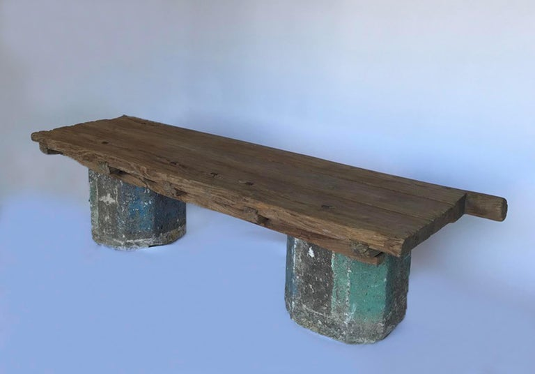Antique Stone Base and Elm Door Bench For Sale 3