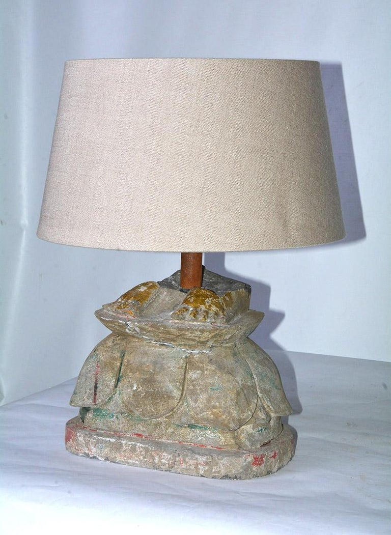 Antique Stone Base Lamps, Feet of Buddha Statues For Sale 2