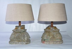 Antique Stone Base Lamps, Feet of Buddha Statues