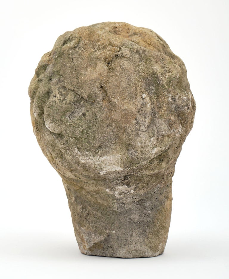 Cast Stone Antique Stone Bust of Athena For Sale