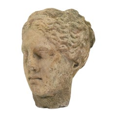 Antique Stone Bust of Athena