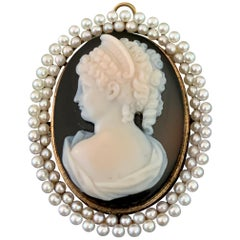 Antique Stone Cameo with Double Pearl Halo in 14 Karat Gold