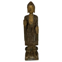 Antique Stone Column Buddha Gold Gilt