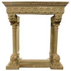"""Antique Stone Fireplace Mantle, Columns and Lions, """"Eclectic"""" Period '700, Italy"""