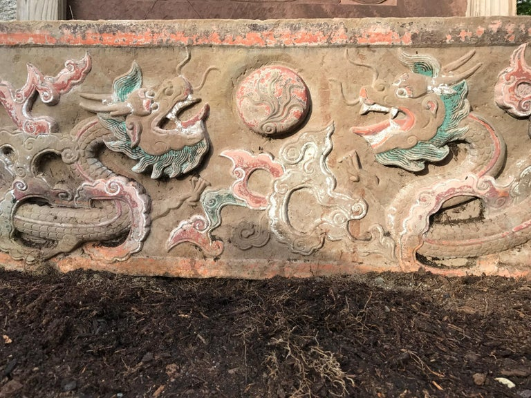 Chinese  Mantle Double Dragon & Wish Granting Jewel Garden Stone, 18th-19th Century For Sale