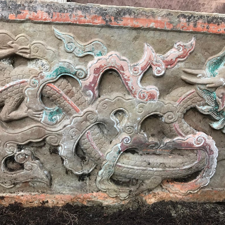 Sandstone  Mantle Double Dragon & Wish Granting Jewel Garden Stone, 18th-19th Century For Sale