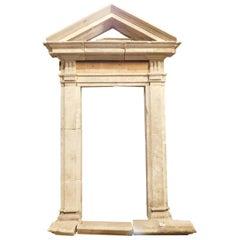Antique Stone Portal, Original Tympanum and Threshold, 16th Century, Italy