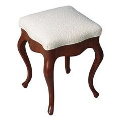 Antique Stool in Mahogany and Boucle, Made in Danmark