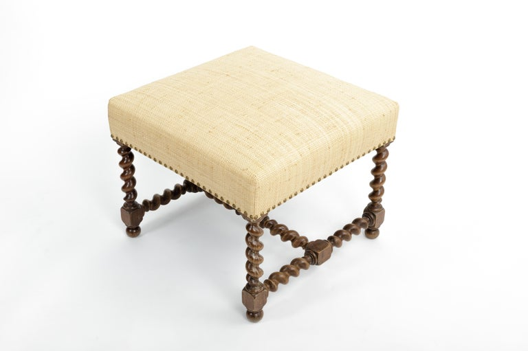 European Antique Barley Twist Stool with Cream Linen Upholstery, Europe, 19th Century For Sale