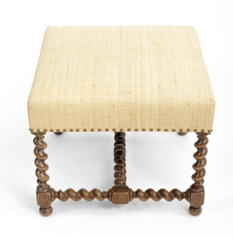 Wood Antique Barley Twist Stool with Cream Linen Upholstery, Europe, 19th Century For Sale