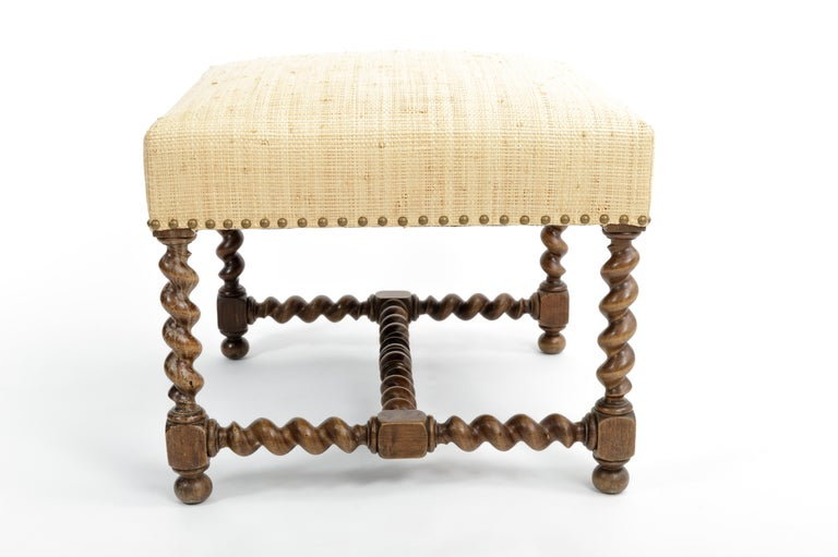 Antique Barley Twist Stool with Cream Linen Upholstery, Europe, 19th Century For Sale 1
