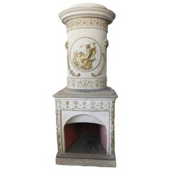 Antique Stove Ceramic White and Gold, Carved Flue, Late 1700 Italy
