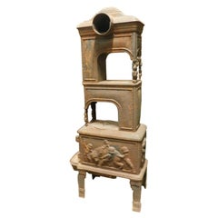 Antique Stove in Cast Iron, Wood-Burning, Decor on All Sides Cherubs, 1800