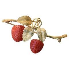 Antique Strawberry Coral 18 Karat Gold Brooch