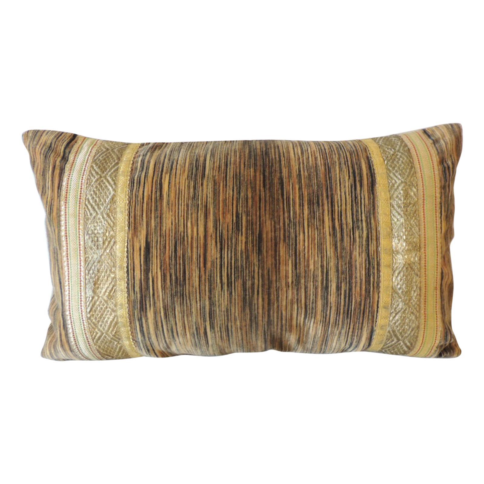 Antique Strie Velvet Long Bolster Decorative Pillow