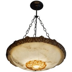 Antique, Striking & Large Hand-Carved & Colored Alabaster Pendant Light Fixture