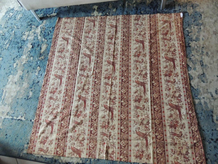 Antique stripe brown and red cotton printed textile panel. Floral pattern with large birds. Chintz style fabric. With small tarnished brass rings attached to the top Ideal for pillows, curtains, upholstery, window shades. Size: 56
