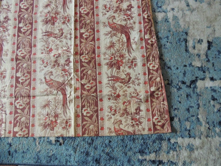 Country Antique Stripe Brown and Red Cotton Printed Textile Panel For Sale