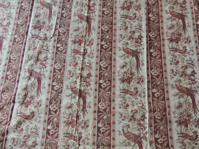 English Antique Stripe Brown and Red Cotton Printed Textile Panel For Sale