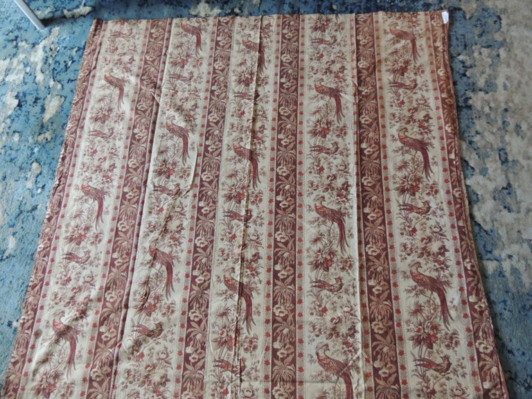 Hand-Crafted Antique Stripe Brown and Red Cotton Printed Textile Panel For Sale