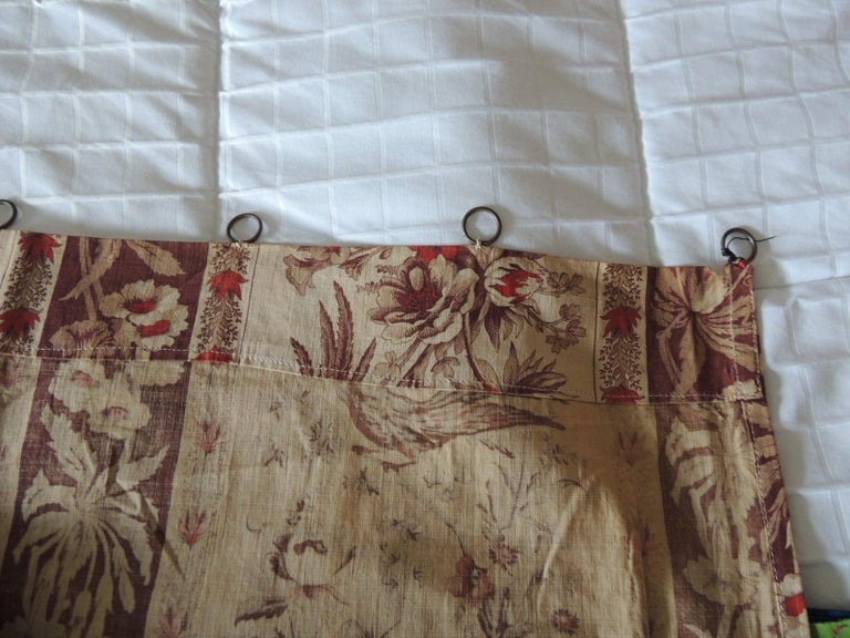 Antique Stripe Brown and Red Cotton Printed Textile Panel In Good Condition For Sale In Wilton Manors, FL