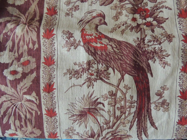 19th Century Antique Stripe Brown and Red Cotton Printed Textile Panel For Sale