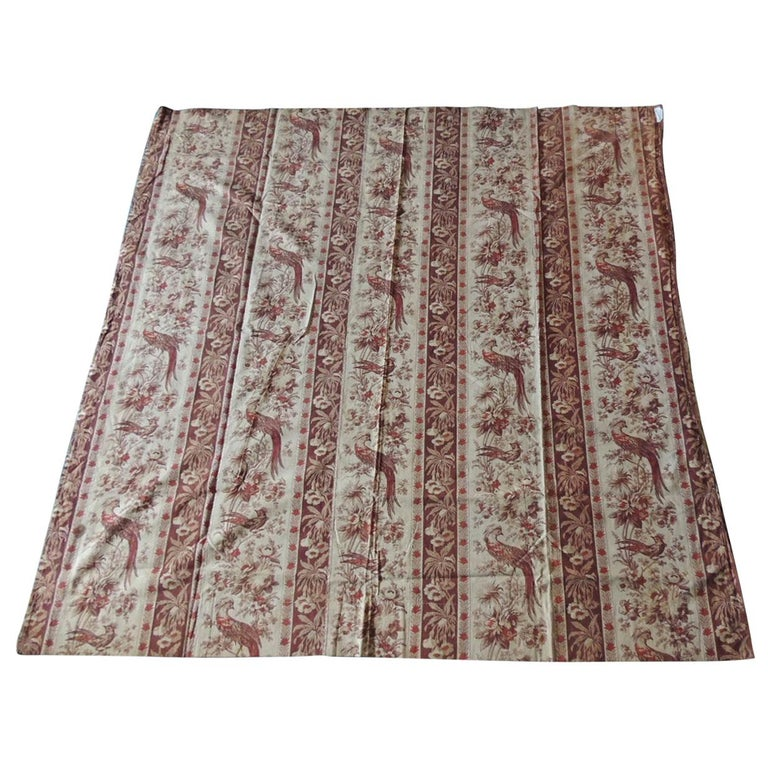 Antique Stripe Brown and Red Cotton Printed Textile Panel For Sale