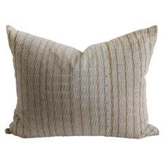 Antique Stripe Linen and Cotton Pillow Sham Natural and Dark Golden Brown Stripe