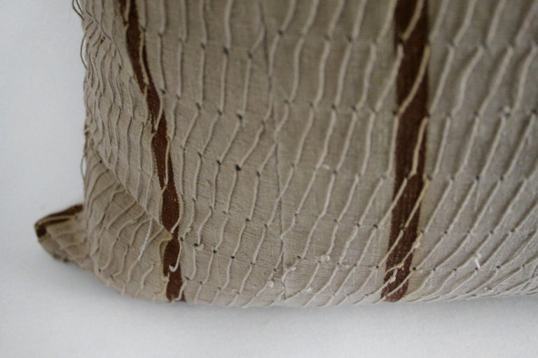 Antique stripe linen and cotton textured pillow sham natural and dark rust This cotton face features a deep rust stripe, natural linen colored background with original threaded string. The backing is 100% Irish linen in natural linen. Our pillows