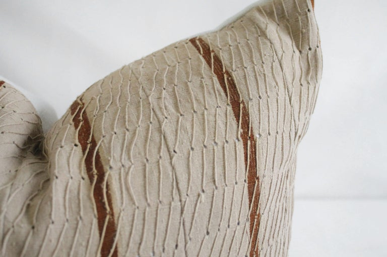 20th Century Antique Stripe Linen and Cotton Textured Pillow Sham Natural and Dark Rust For Sale