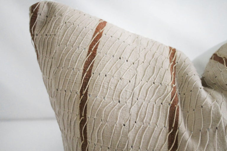 Antique Stripe Linen and Cotton Textured Pillow Sham Natural and Dark Rust For Sale 1