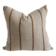 Antique Stripe Linen and Cotton Textured Pillow Sham Natural and Dark Rust