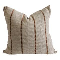 Antique Stripe Linen and Cotton Textured Pillow Sham Natural and Dark Rust