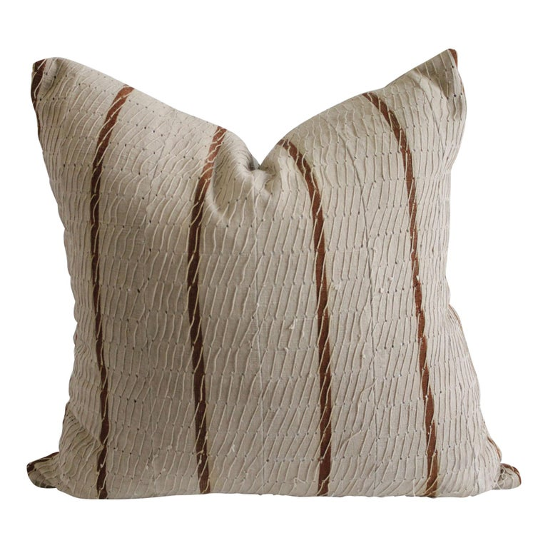 Antique Stripe Linen and Cotton Textured Pillow Sham Natural and Dark Rust For Sale