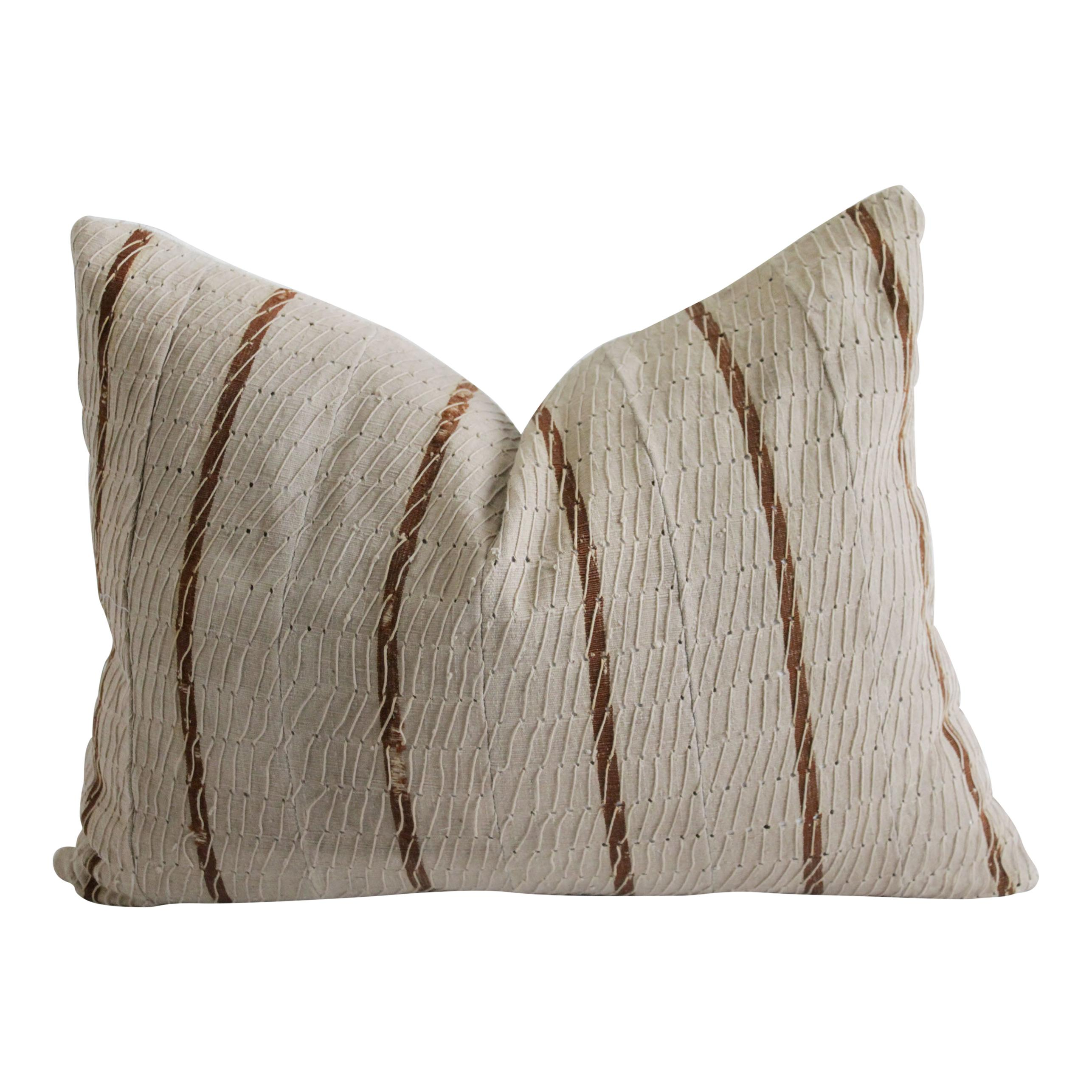 Natural woven pillow, textured cotton