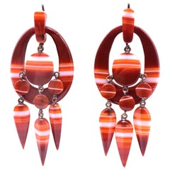 Antique Striped Carnelian Agate Earrings, circa 1880