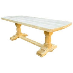 Antique Stripped French Oak Trestle and Pedestal Dining Table with Curved Ends