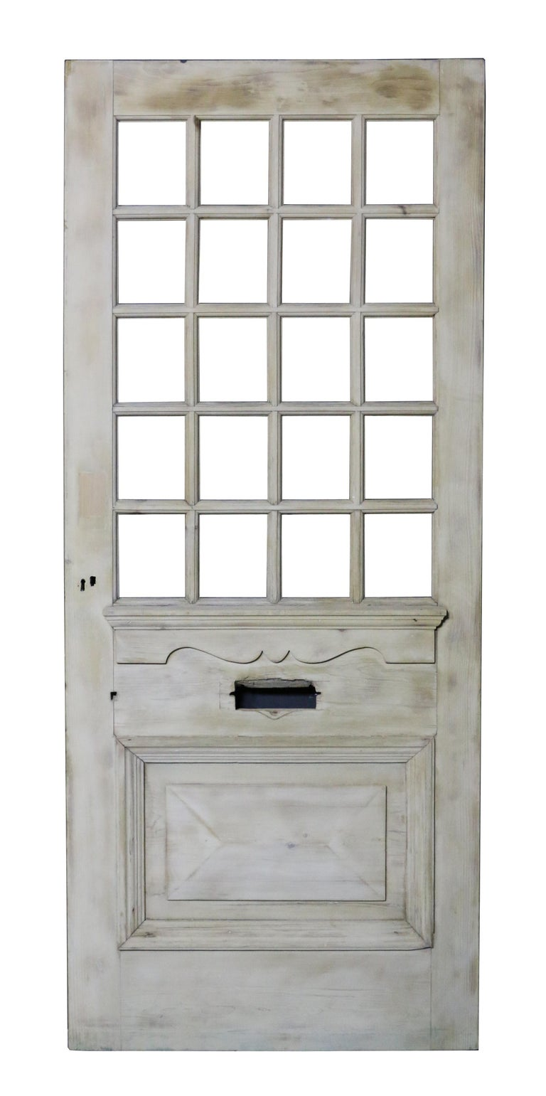 Victorian Antique Stripped Pine Front Door For Sale