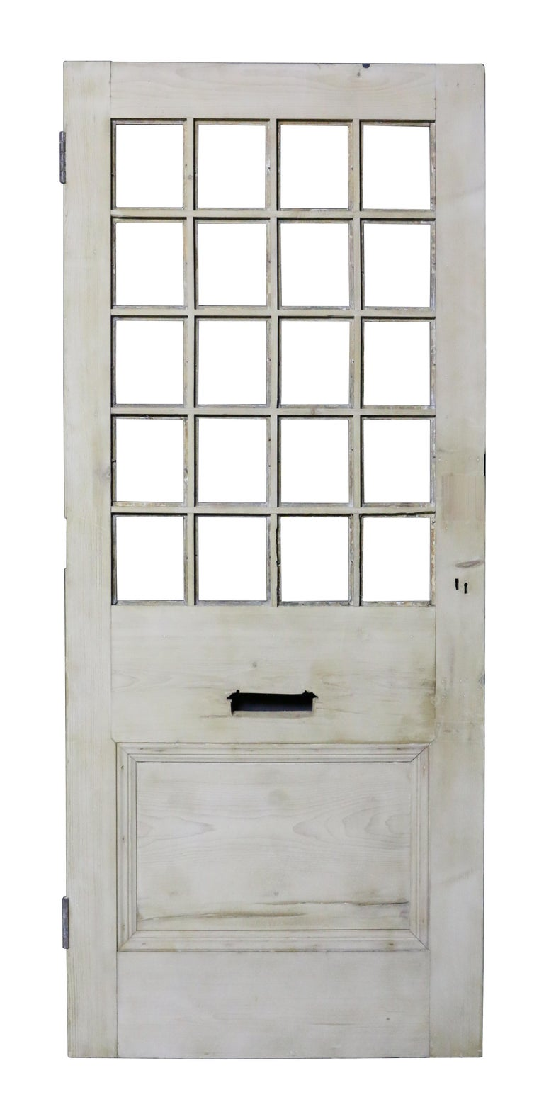 English Antique Stripped Pine Front Door For Sale