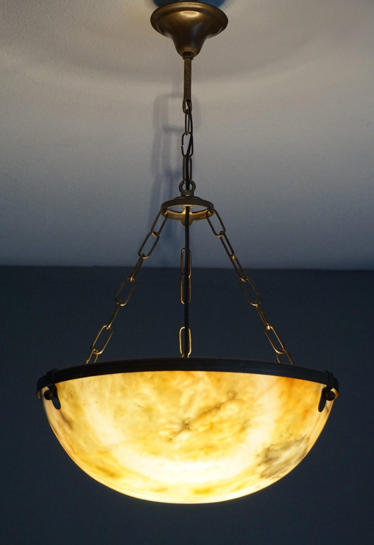 Antique and Stunning Alabaster in Brass Pendant / Chandelier, Arts & Crafts Era For Sale 6