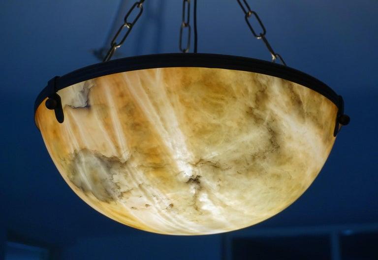 Antique and Stunning Alabaster in Brass Pendant / Chandelier, Arts & Crafts Era For Sale 11