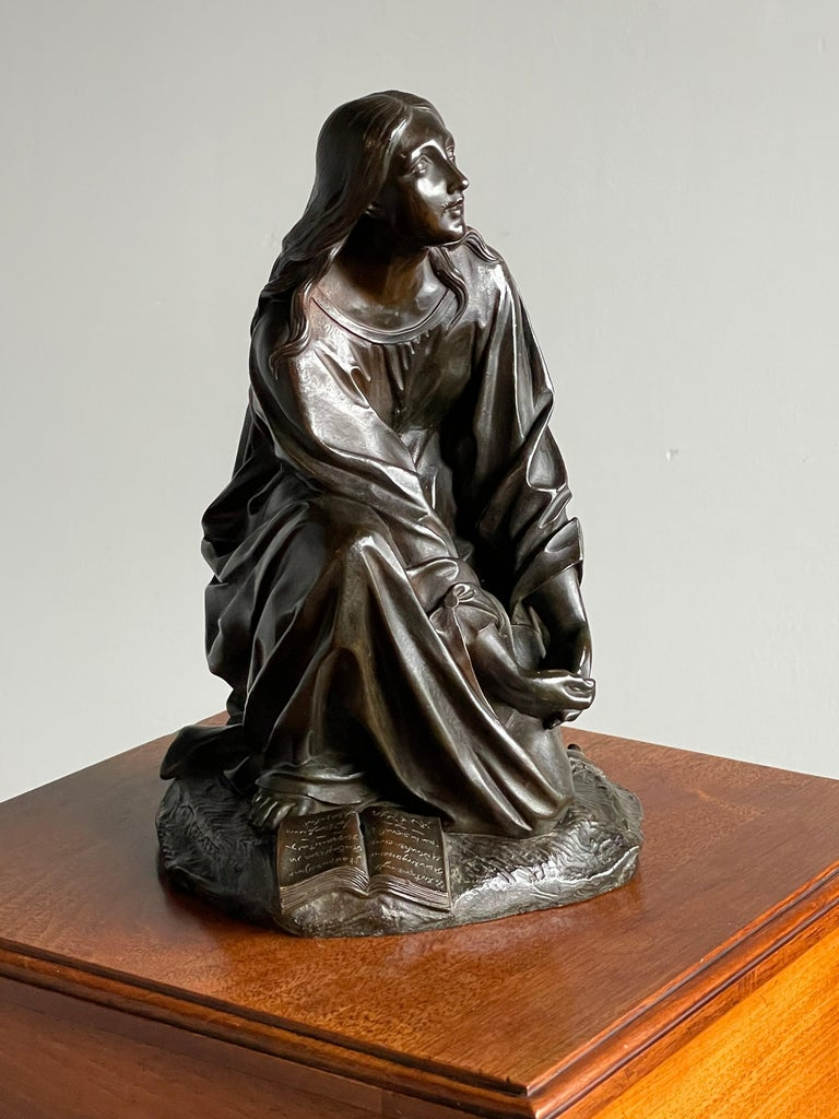 Antique & Stunning Bronze Kneeling Angel Sculpture Marked 1841 by T. Gechter For Sale 3