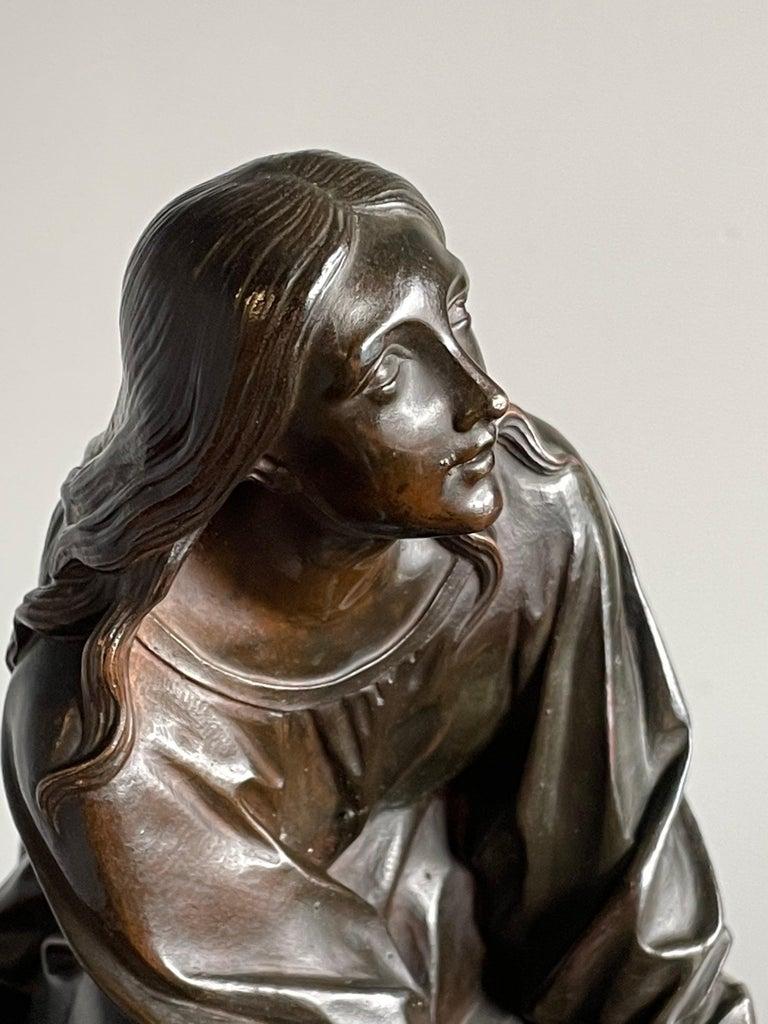 Antique & Stunning Bronze Kneeling Angel Sculpture Marked 1841 by T. Gechter For Sale 5