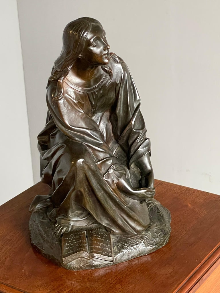 Antique & Stunning Bronze Kneeling Angel Sculpture Marked 1841 by T. Gechter For Sale 7
