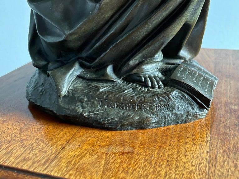 Antique & Stunning Bronze Kneeling Angel Sculpture Marked 1841 by T. Gechter For Sale 8