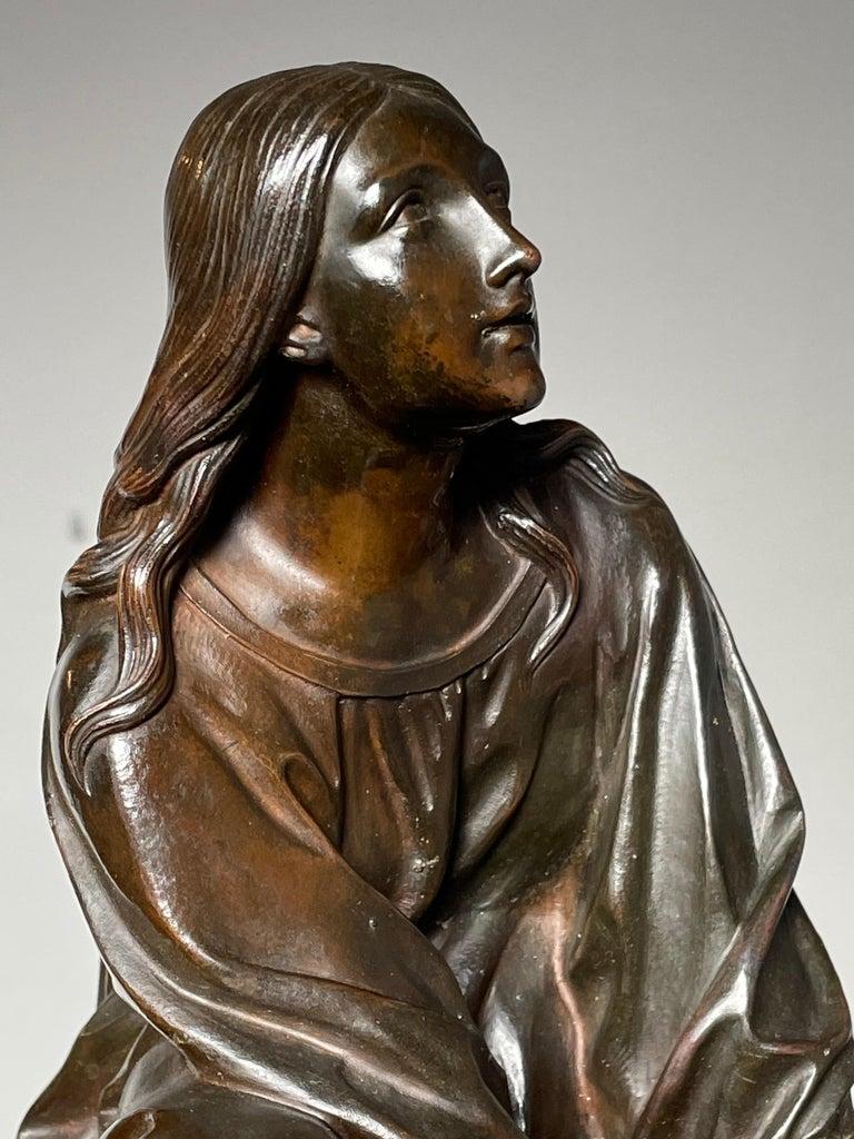 Antique & Stunning Bronze Kneeling Angel Sculpture Marked 1841 by T. Gechter For Sale 9