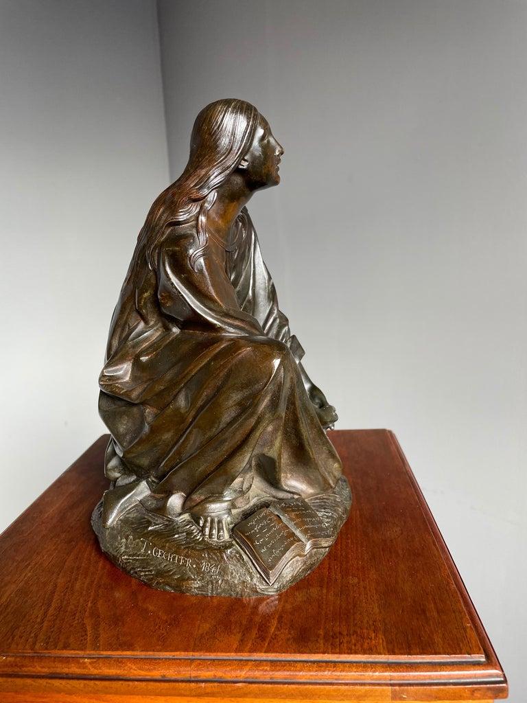 Antique & Stunning Bronze Kneeling Angel Sculpture Marked 1841 by T. Gechter For Sale 10