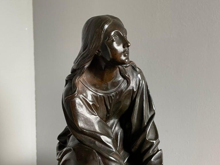 Antique & Stunning Bronze Kneeling Angel Sculpture Marked 1841 by T. Gechter For Sale 11