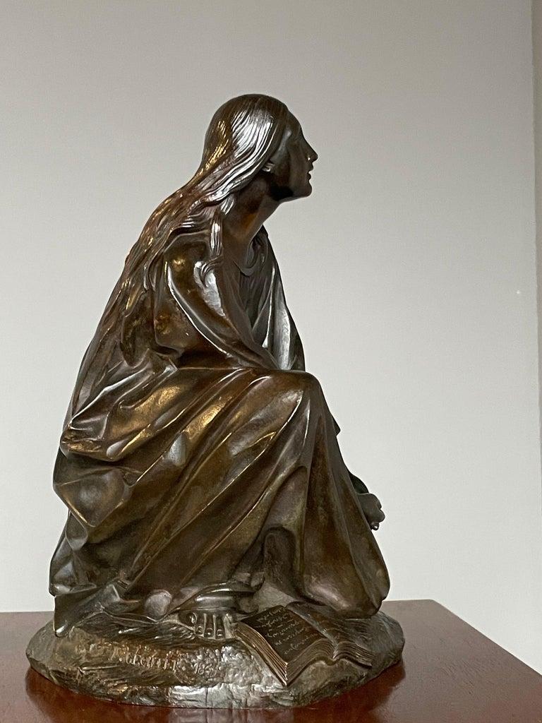 Renaissance Revival Antique & Stunning Bronze Kneeling Angel Sculpture Marked 1841 by T. Gechter For Sale