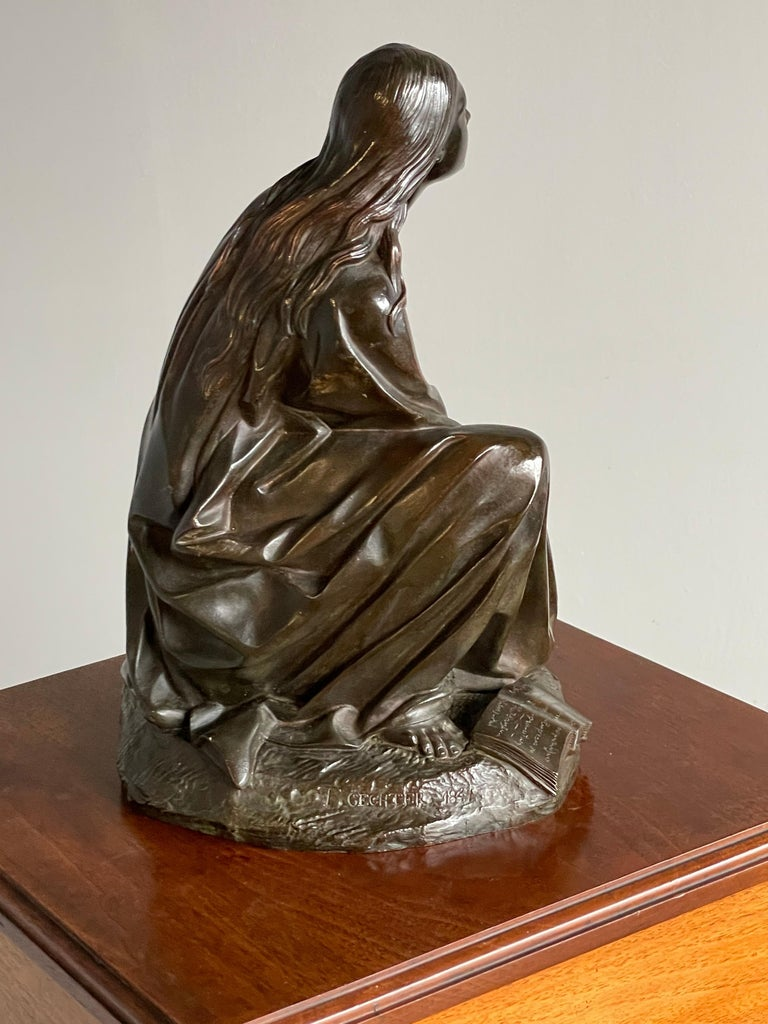 French Antique & Stunning Bronze Kneeling Angel Sculpture Marked 1841 by T. Gechter For Sale